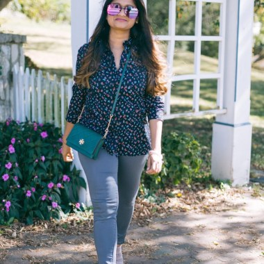 Lifestyle blogger Surekha of Dreaming loud wearing old navy floral Printed Shirt