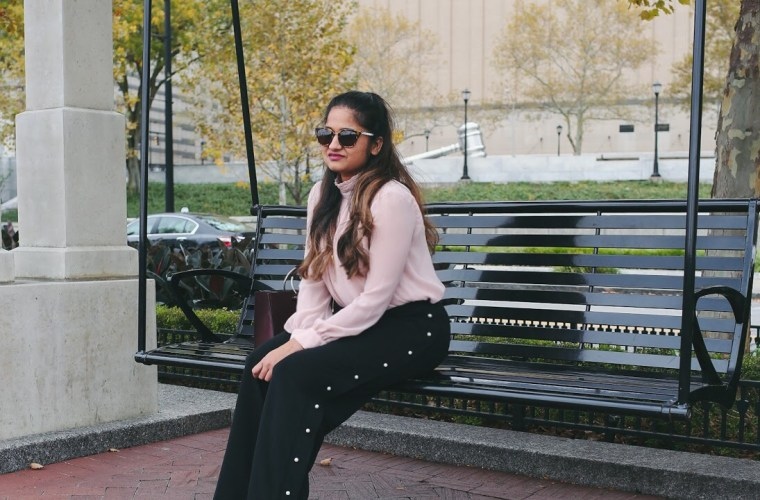 Lifestyle Blogger Surekha of Dreaming Loud Sharing how to wear Pearl Embellishment Fall Trend 2017