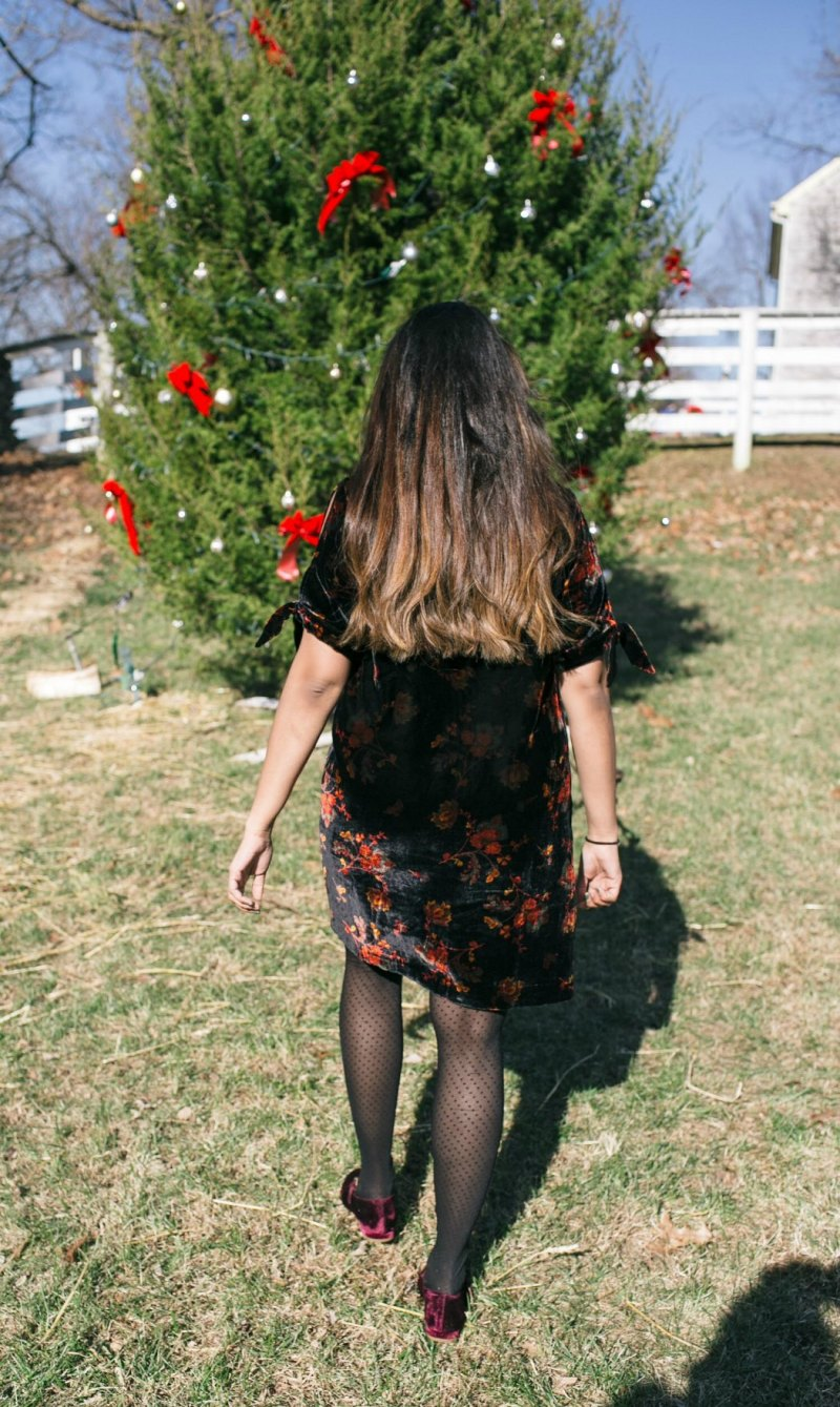 Fashion and Green Beauty Blog Dreaming Loud Wearing dot tights with velvet dress