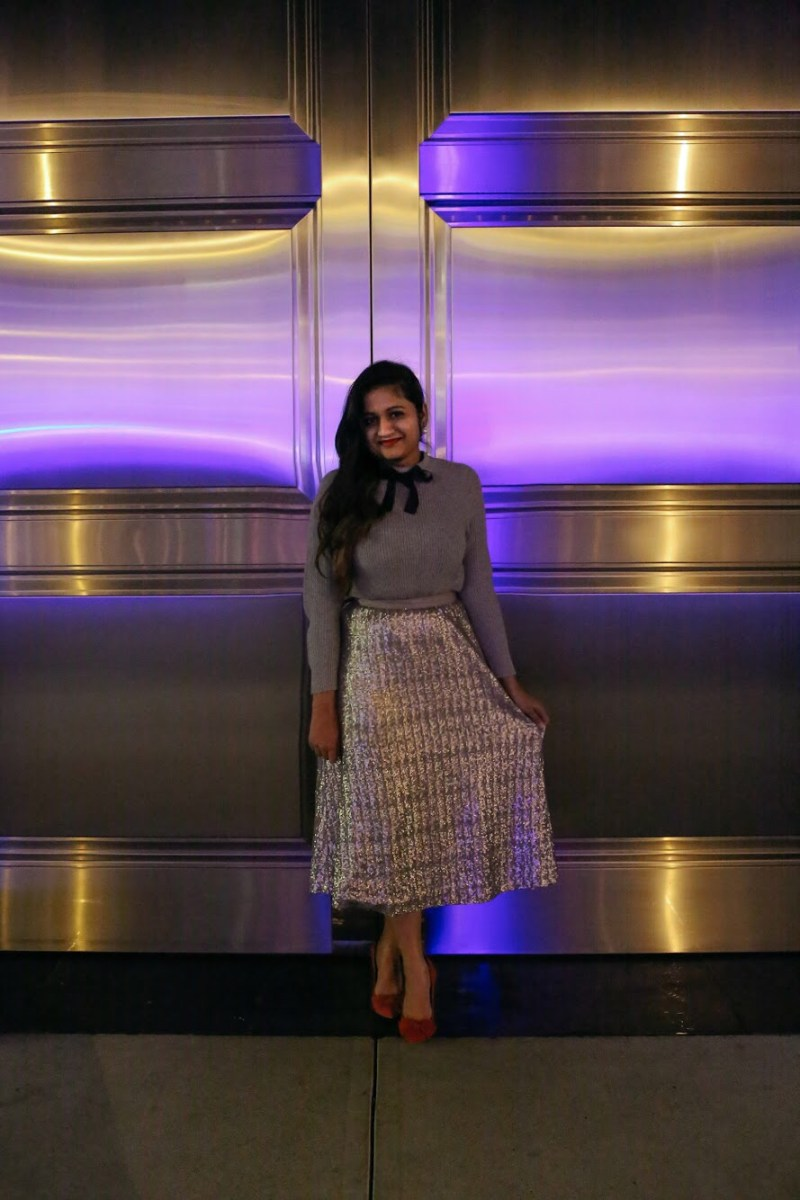 Lifestyle Blogger Surekha of Dreaming Loud Wearing Boden Drapey Sequin silver Skirt