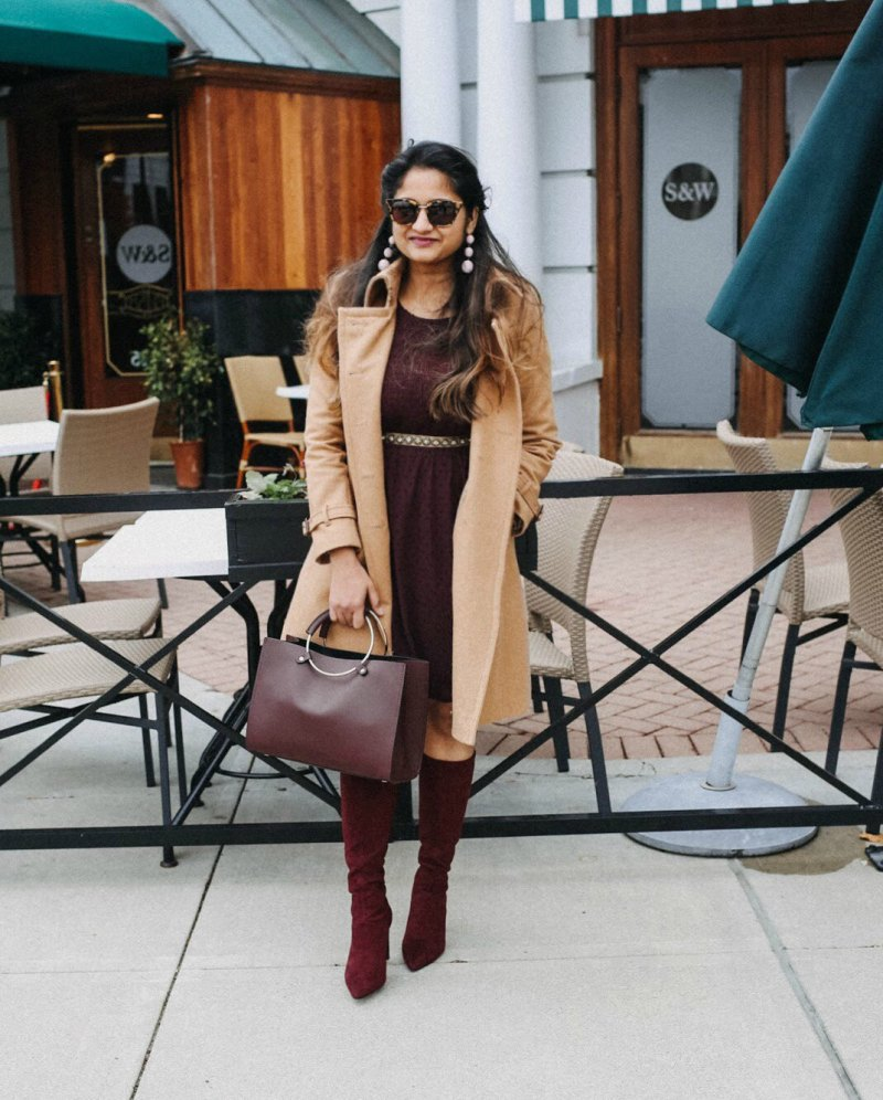 Lifestyle Blogger Surekha of dreaming loud sharing fall trending Burgundy color outfit ideas