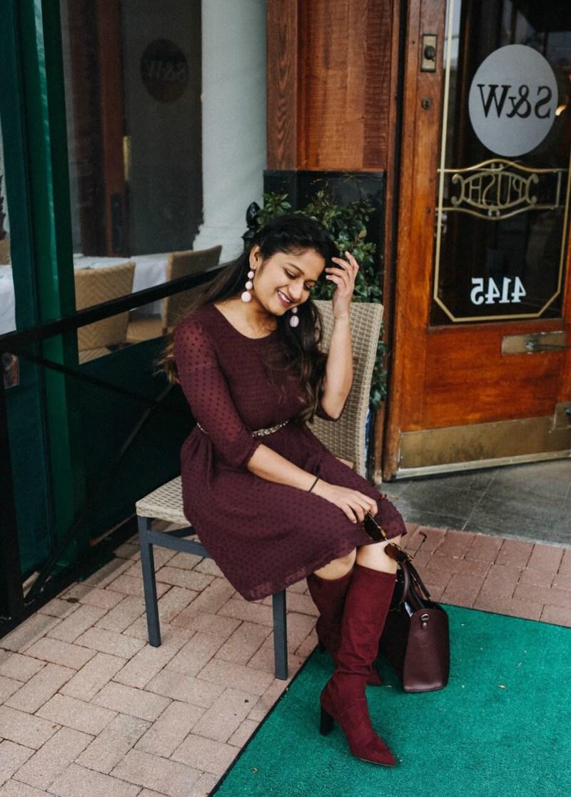 Lifestyle blogger Surekha of dreaming loud sharing fall Burgundy favorites 2017
