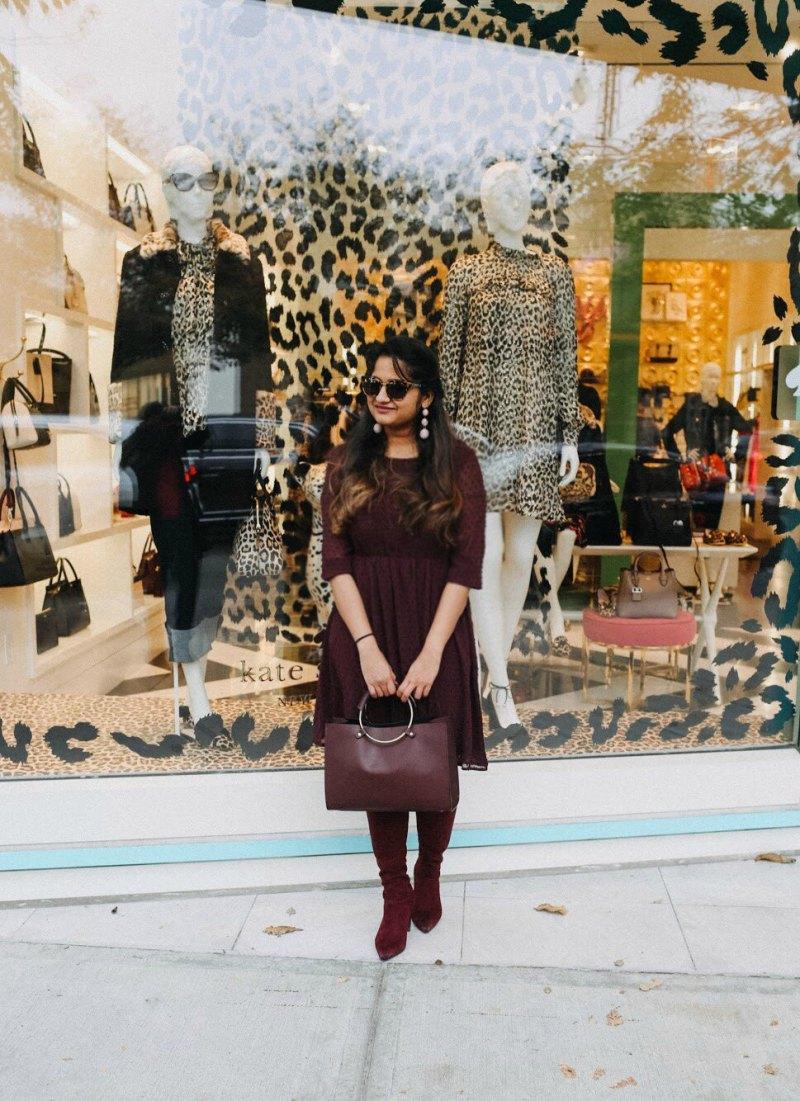 Lifestyle blogger Surekha of dreaming loud wearing mango metallic handle Burgundy bag