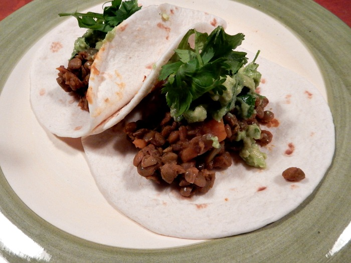 Lentil Taco with Guacamole - Vegan