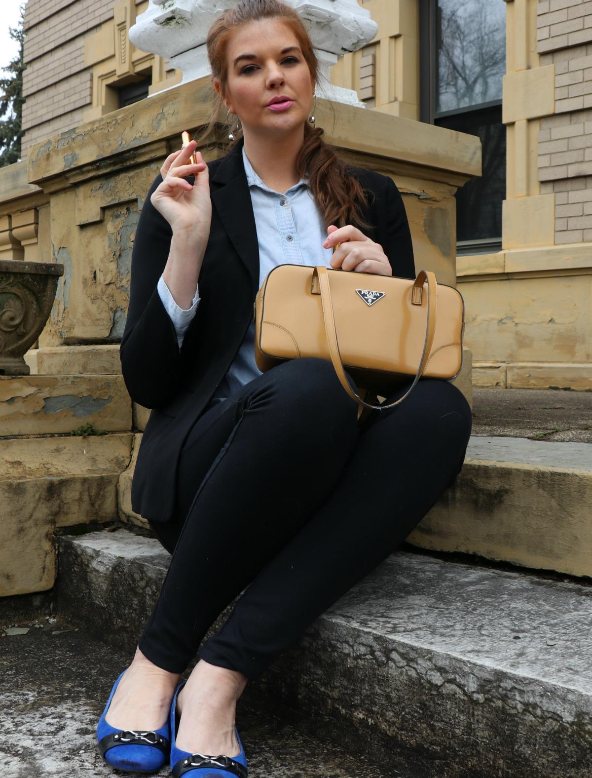 Spring Goals - Black Blazer with Denim Blouse and skinny jeans