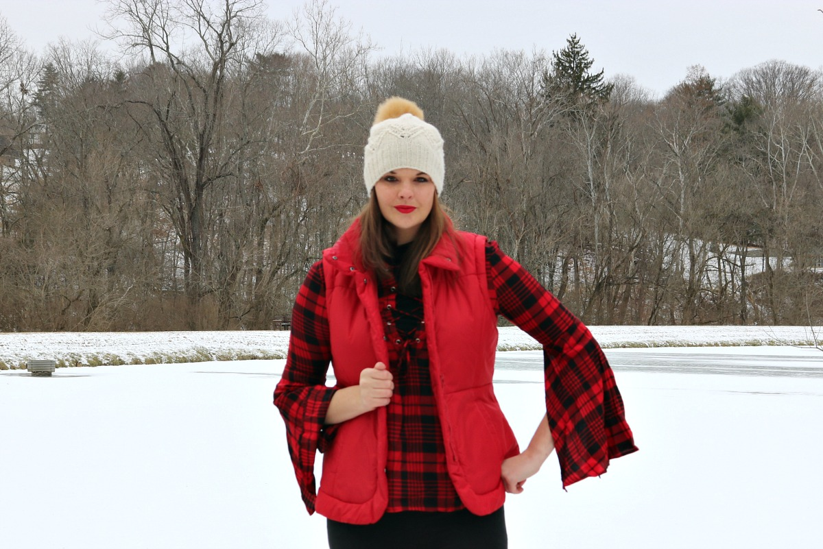 Snow Day Style in Winter Plaid I Top by Tobi, Puffer Vest by NY and Company, Boots by Steve Madden #OOTD