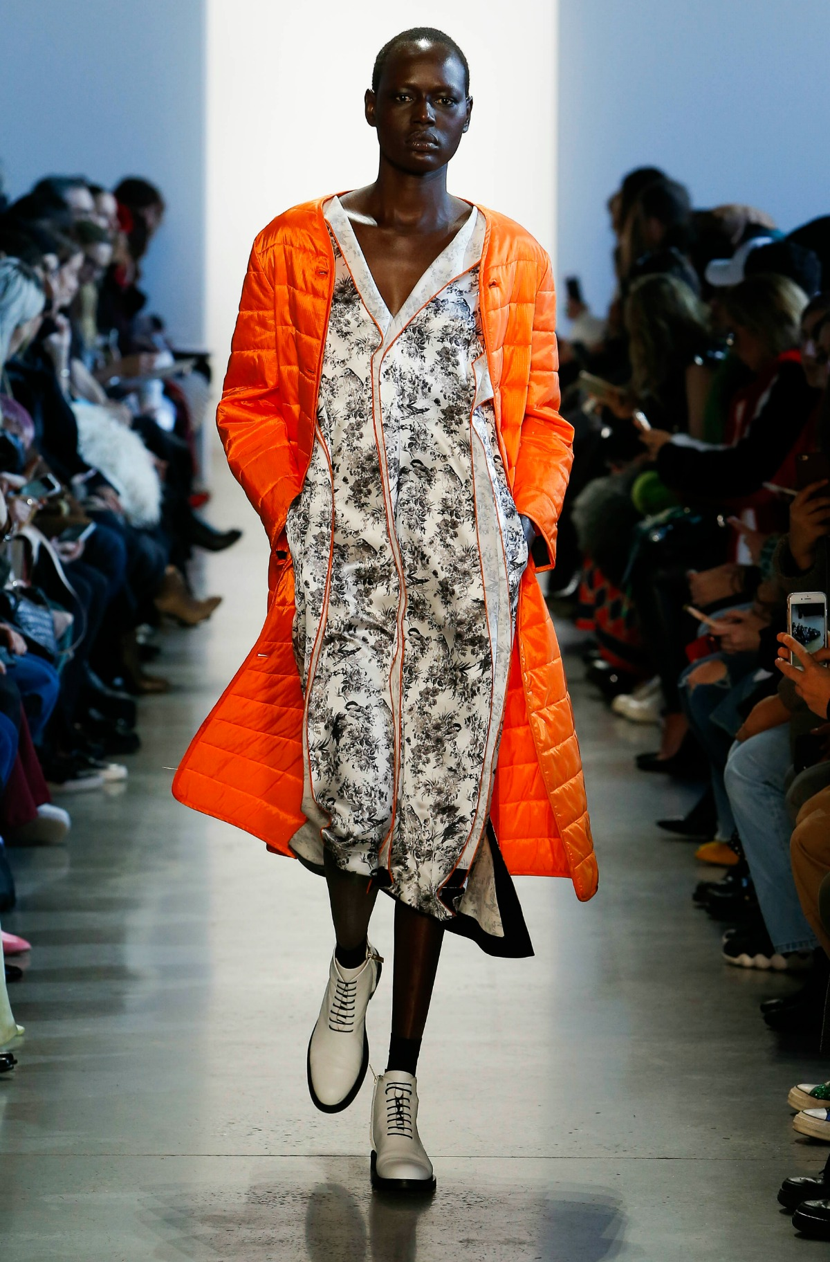 COLOVOS Fall 2018 Runway at NYFW I Orange Overcoat with Silk Dress #NYFW #WinterFashion