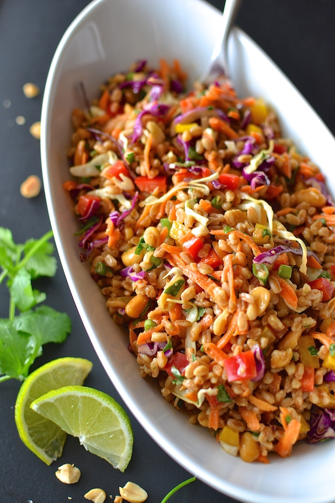 Vegan Summer Recipes I Thai Farro Rainbow Salad #Vegan #Salad #SummerRecipe