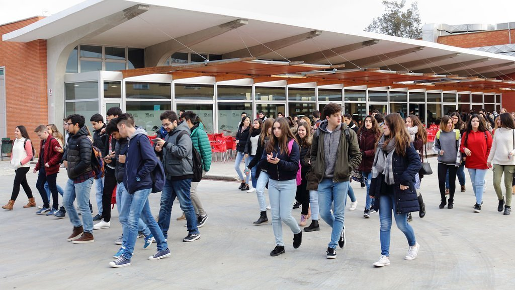 students walking school
