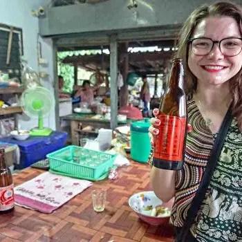 EmilyAlbertell tasting local beer