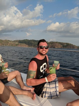 tyler black on a boat tour