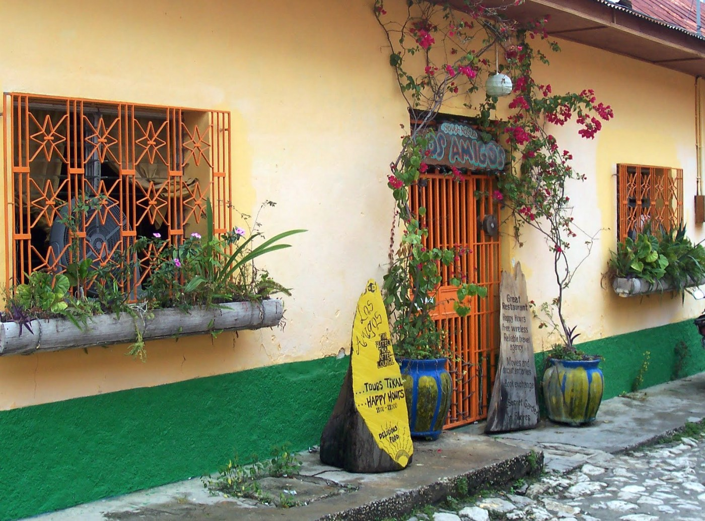 An image of a restaurant in Flores, Guatemala, which is a quick drive from Belize City