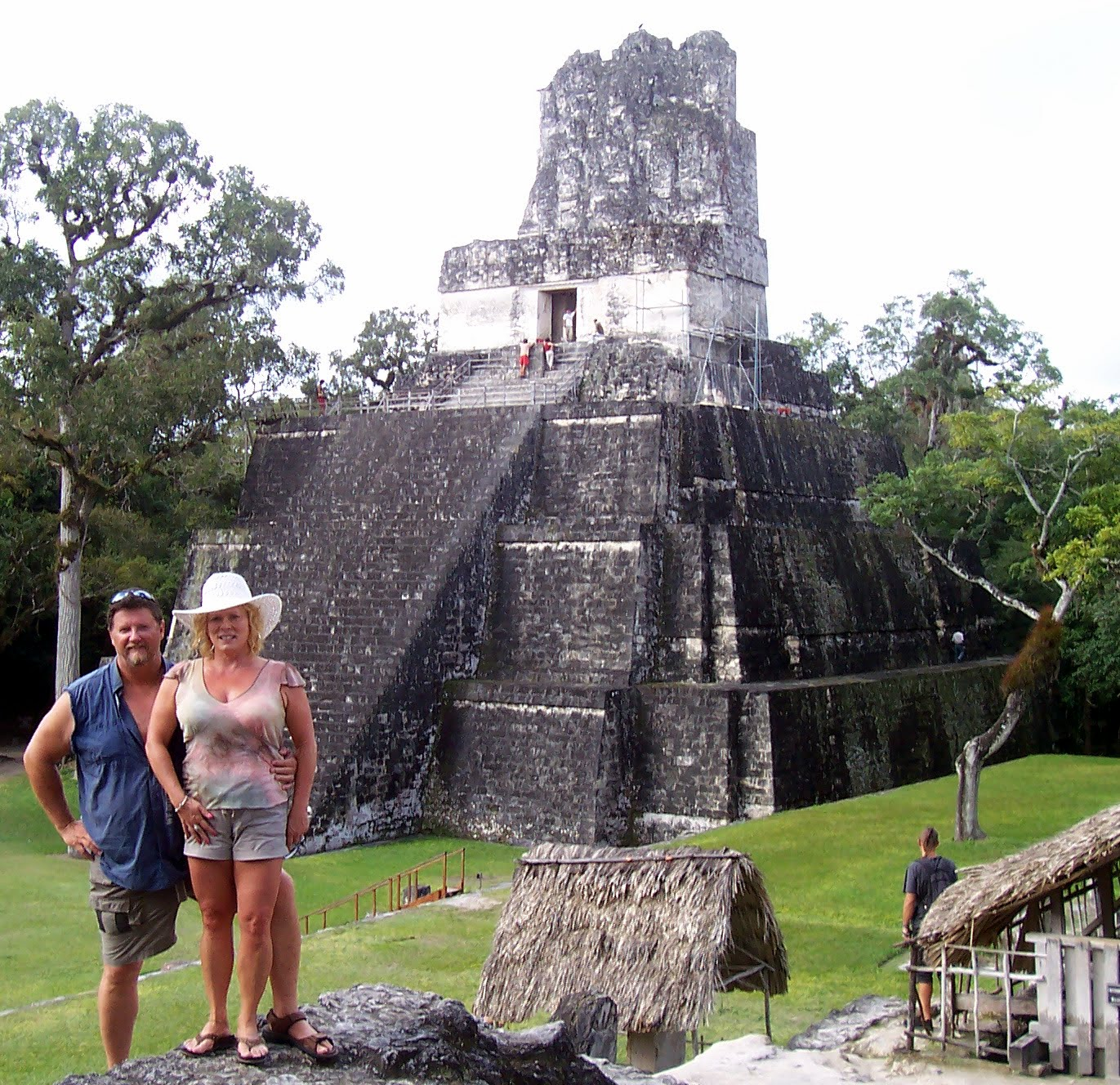 Ed and his wife at the Tikal Ruins near Belize City