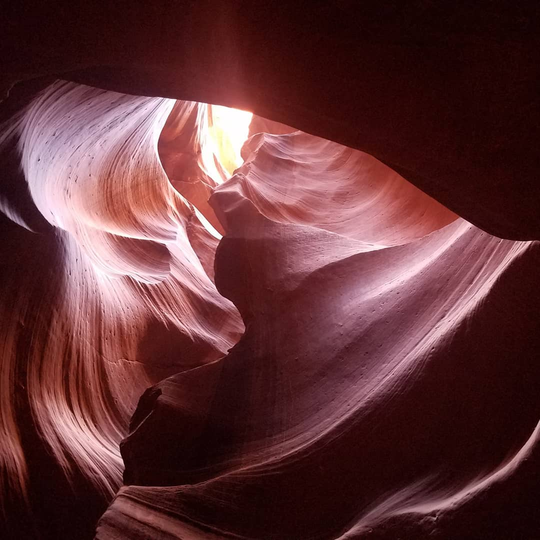 After returning to the United States, Morgan visited Antelope Canyon and took a picture of a natural skylight.
