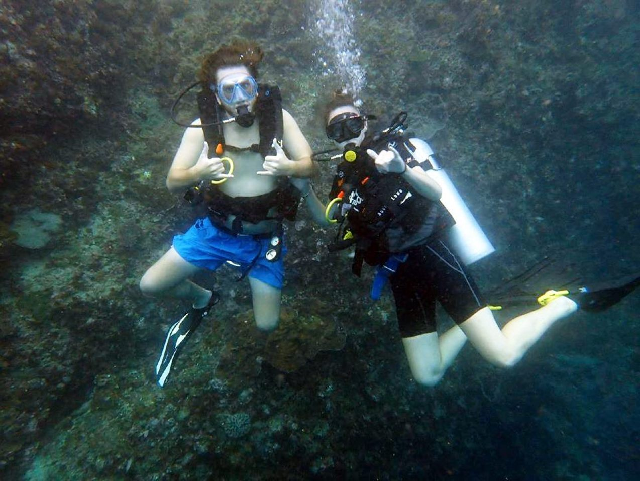 diving with a friend