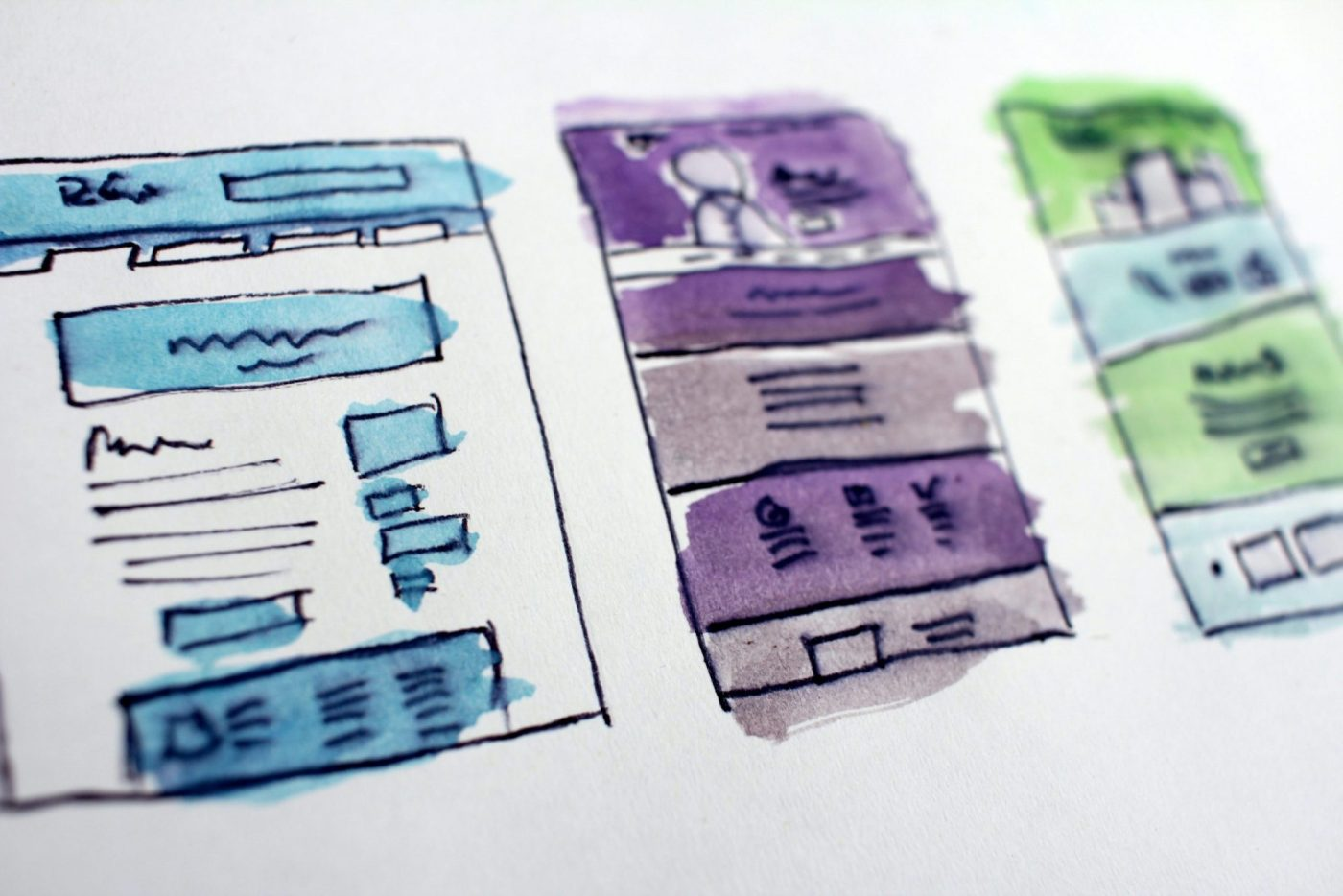 Illustrations of a website layout