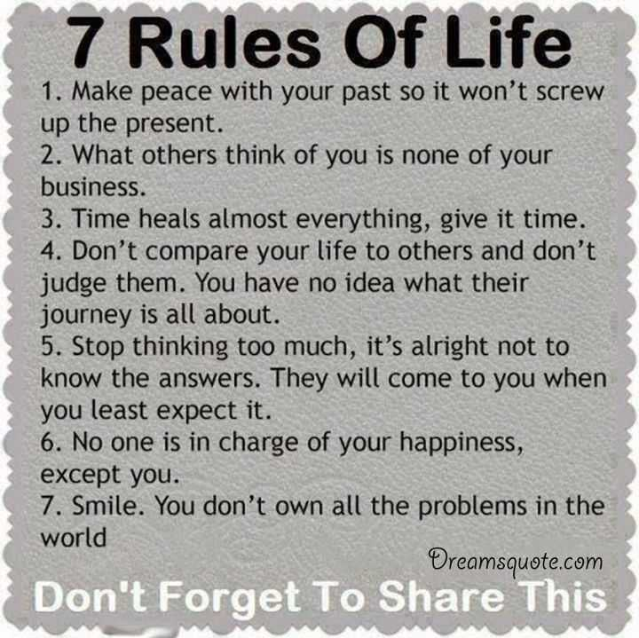 Positive Quotes About Life The 7 Rules Of Life Deep Inspirational