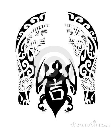 sample maori tribal tattoo with turtle symbol match drawn at the left or
