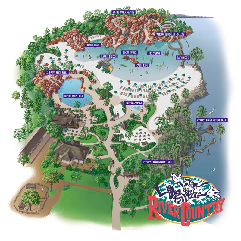 River Country Water Park Map - Walt Disney World