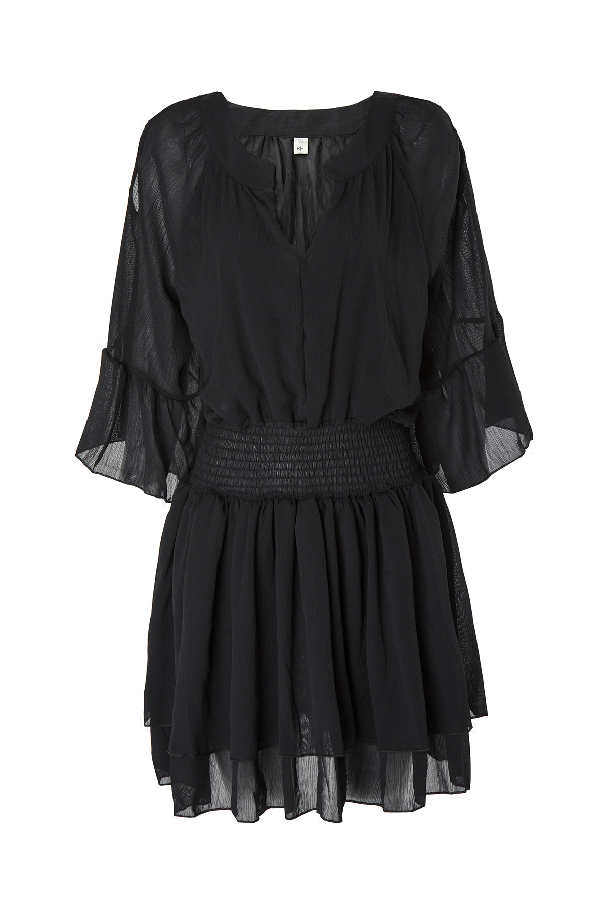 FLARE SLEEVE LAYERED CHIFFON DRESS