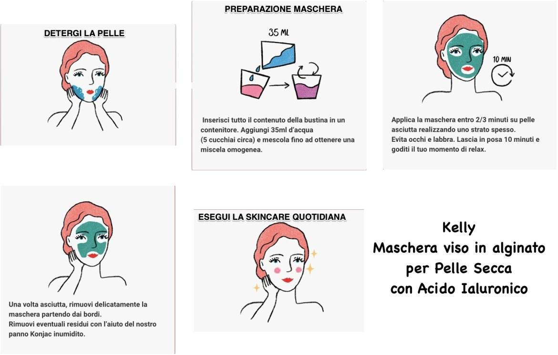 Kelly Maschera viso in alginato per Pelle Secca con Acido Ialuronico
