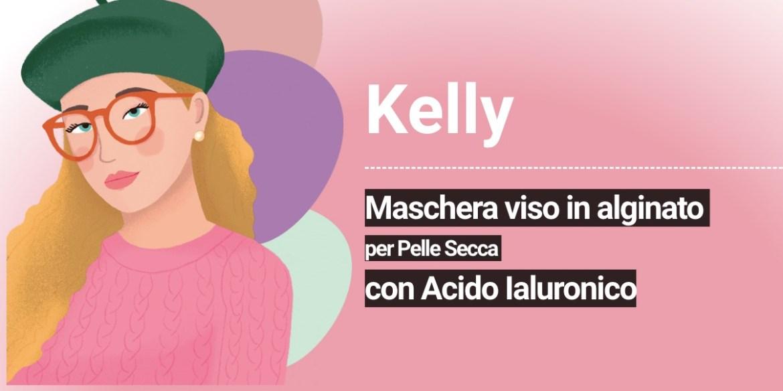 Kelly: Maschera viso in alginato per Pelle Secca con Acido Ialuronico