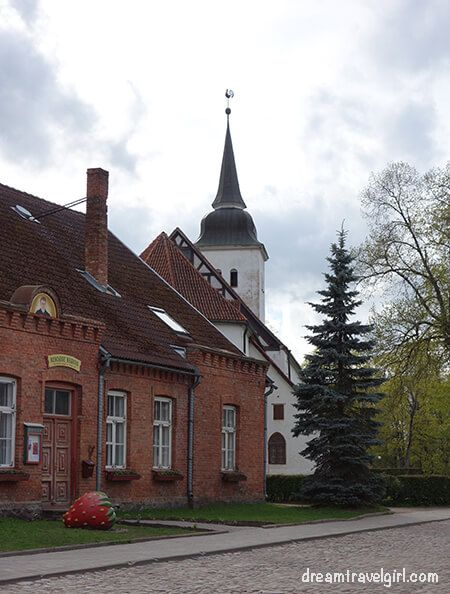 there are several strawberries around the town pointing at the Kondas center