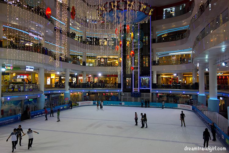 Ice skating in a shopping mall, KL