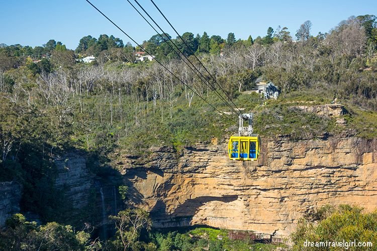 Skyway and the Katoomba waterfall on the left