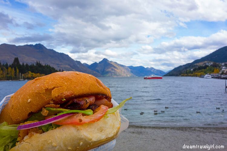 Eating Fergburger with great views