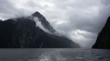 Milford Sound in usual weather conditions