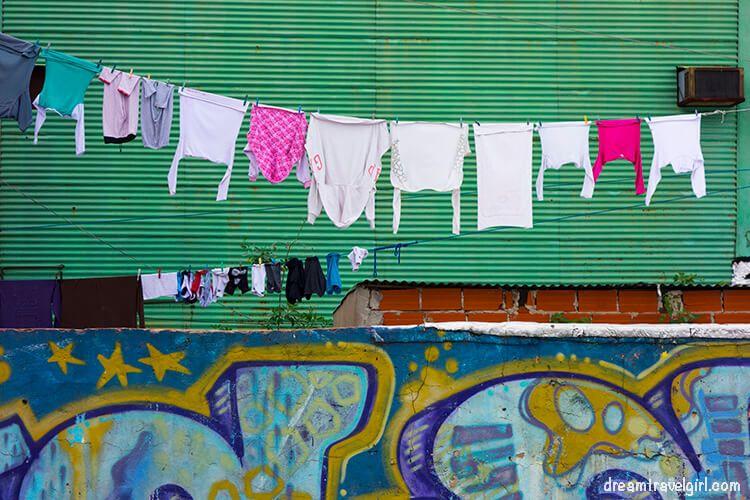 Clothes and street art in La Boca