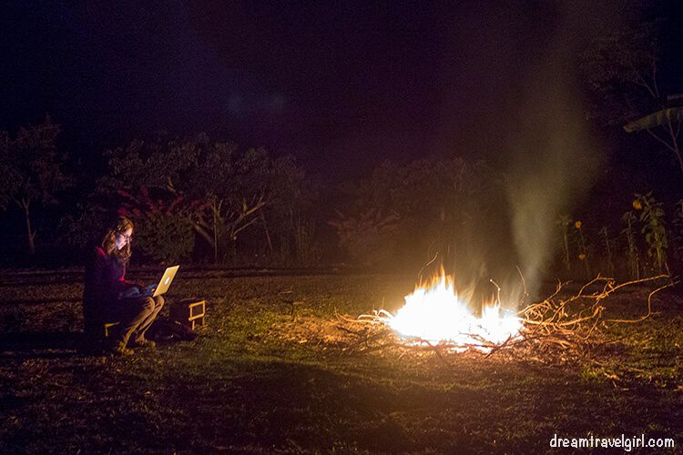 Campfire in the farm stay