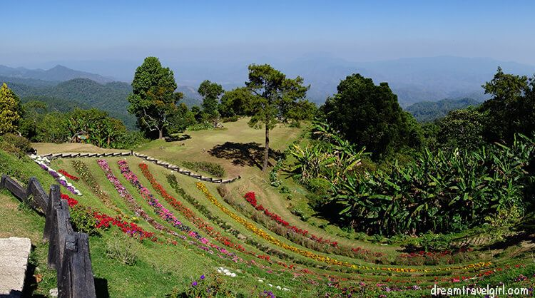 Huai Nam Dang National Park: terrace with flowers