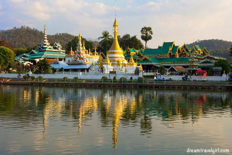Temples reflected on the lake, Mae Hong Son