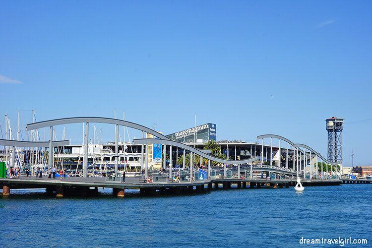 Barcelona harbor, the bridge to Maremagnum