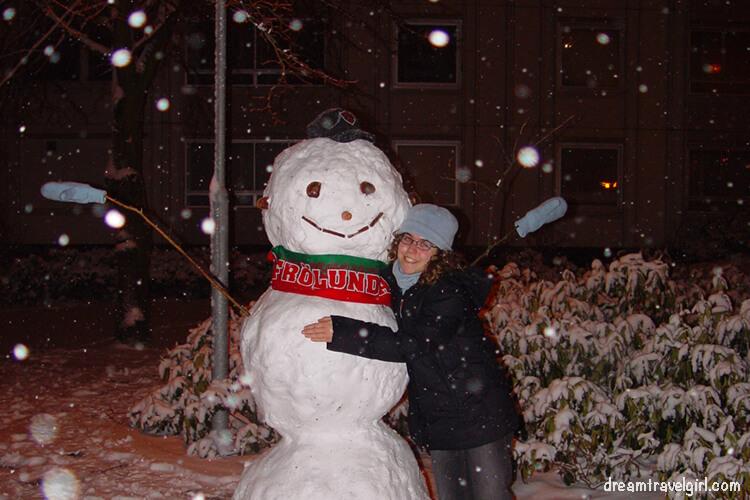 Viviendo en Suecia: mi primer muñeco de nieve