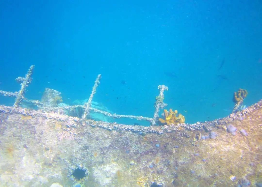 Shipwreck boat on De Palm Tours Snorkel Adventure Catamaran Tour