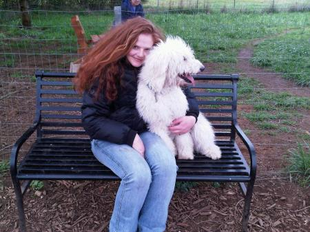 Me and Baby on the bench at the Dog Park