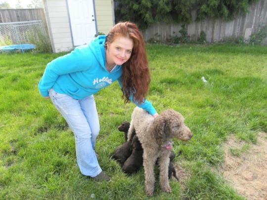 Me and Tippy while she nurses her puppies - Summer 2013