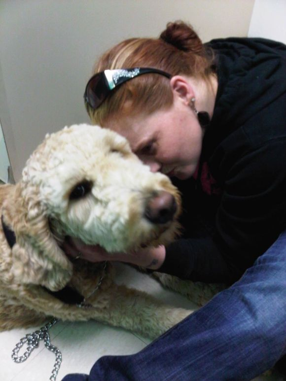 Me and Toby my Big Ole Goldendoodle at the vets office!