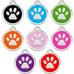 CNATTAGS Stainless Steel with Enamel Pet ID Tags Designers Round Paw