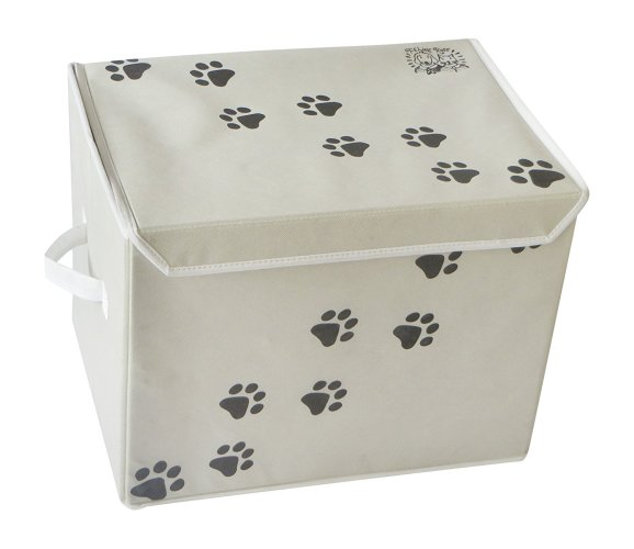 "LARGE Dog Toys Storage Box by Feline Ruff. 16"" x 12"" Pet Toy Storage Basket with Lid"
