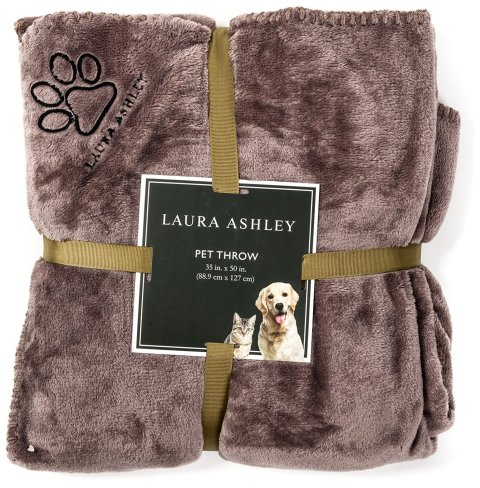 Laura Ashley Reversible Micro Fur Pet Dog Bed Blanket Throw - Puppy Supplies - Dog Blankets