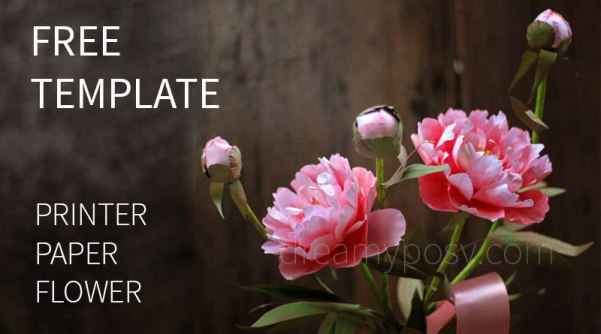 paper peony tutorial, free template, paper flower tutorial