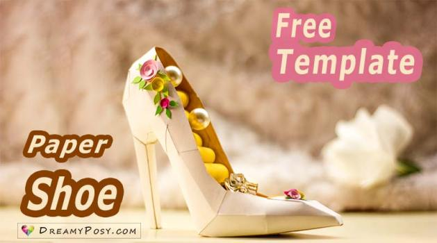 Best paper crafts   Free templates and tutorials   DreamyPosy com How to make a 3D paper shoe  Free template