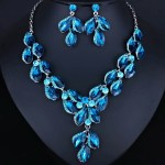 Leaf Shape Multicolor Crystal Necklace and Earrings set.Bridal Jewelry sets.