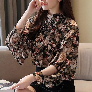 Long Sleeve Floral Tops