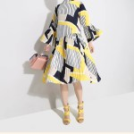Striped Printed Pleated Loose Dress