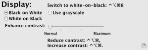 The Display sub-tab of the Mac OS X Universal Access System Preferences Tab